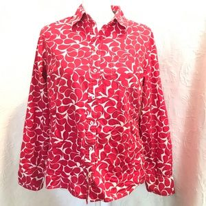 Boden Red White Abstract Floral Cotton Blouse